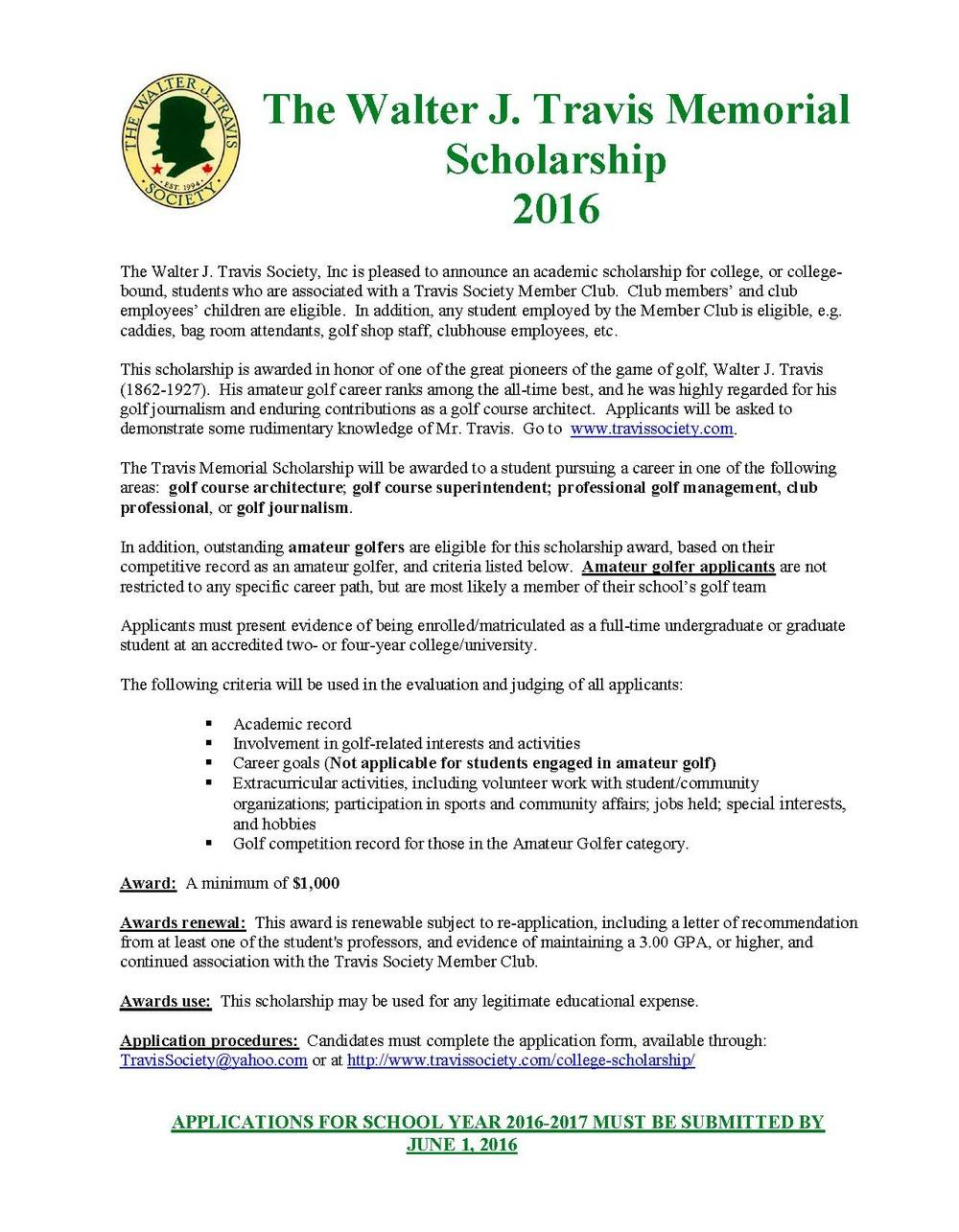 2016Member Club Scholarshipnotice