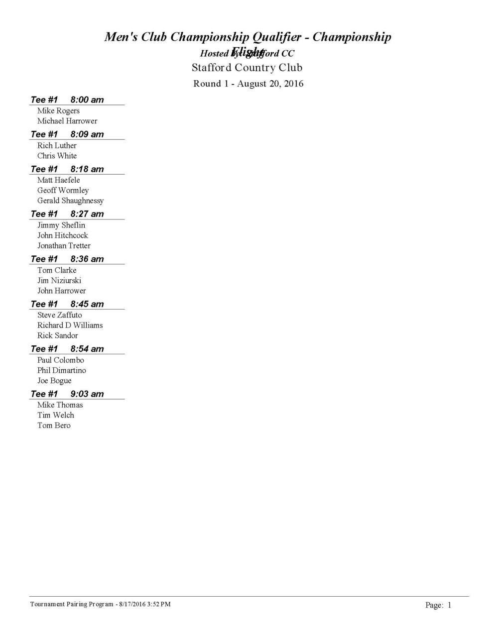 Men's Club Championship Qualifier Tee Times Rd. 1 August 20, 2016