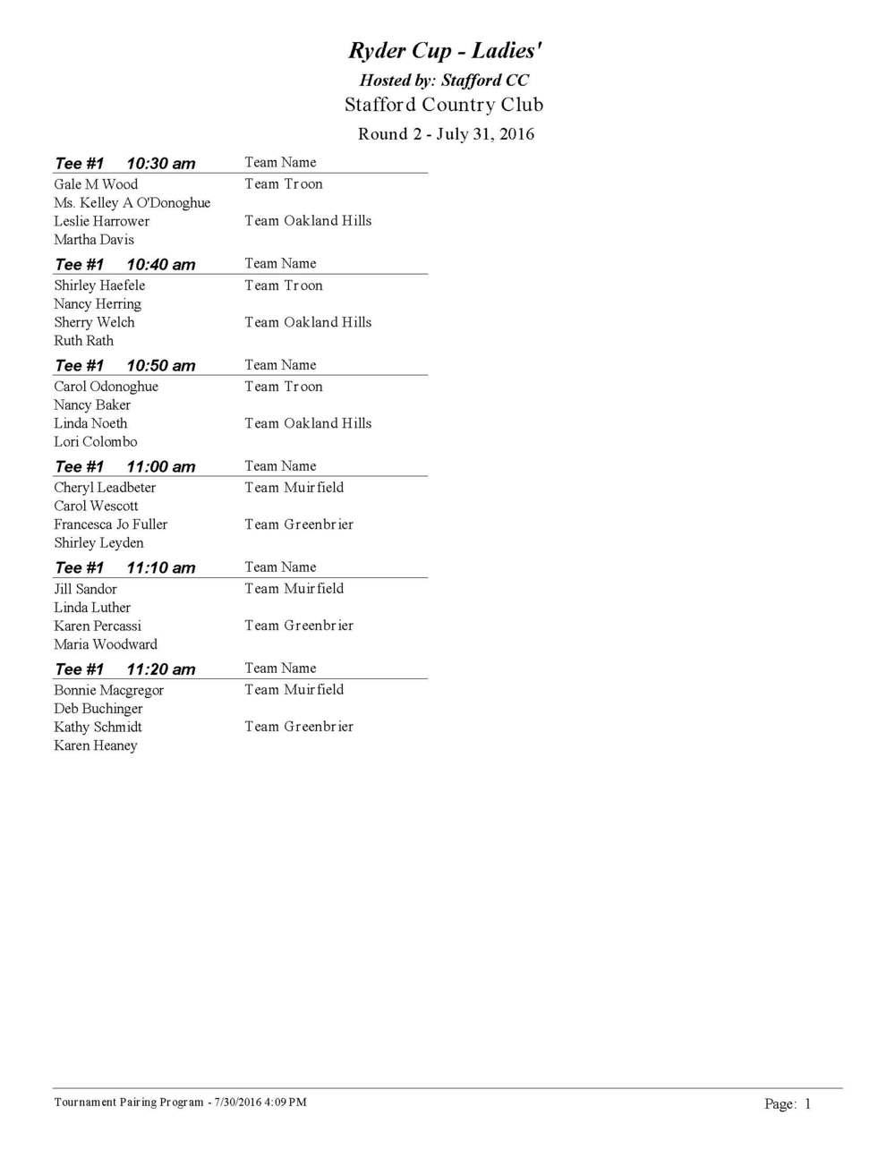 Ryder Cup - Ladies' Division Tee Times Rd. 2