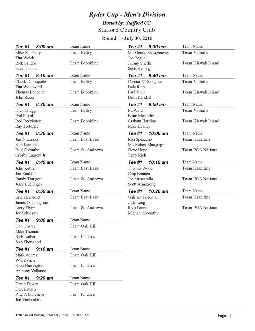 Ryder Cup - Men's Division Tee Times Rd. 1