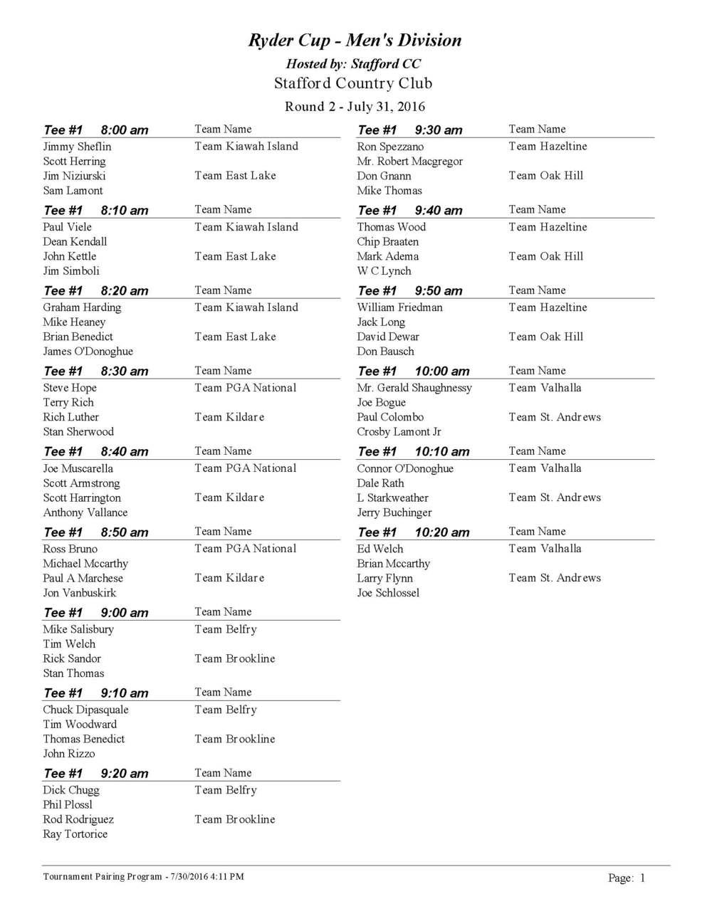 Ryder Cup Tee Times - Men's Division Rd. 2
